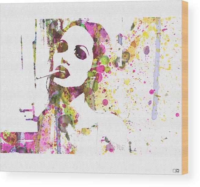 Angelina Jolie Wood Print featuring the painting Angelina Jolie 2 by Naxart Studio