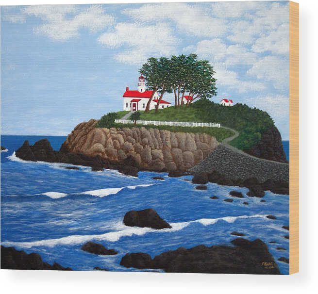 Lighthouse Paintings Wood Print featuring the painting Battery Point Lighthouse by Frederic Kohli