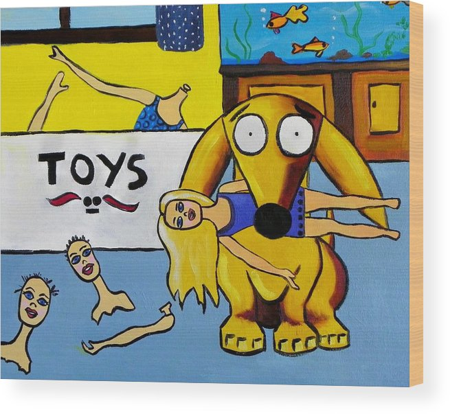 Dolls Wood Print featuring the painting Leo Hates Barbie by Rhondda Saunders
