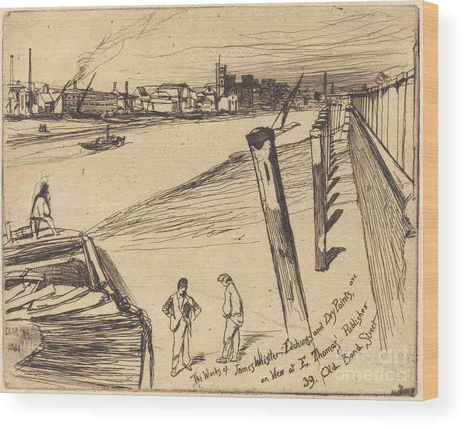 Wood Print featuring the drawing Millbank by James Mcneill Whistler