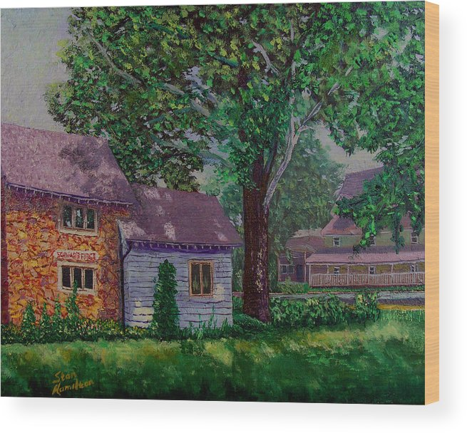 Landscape Wood Print featuring the painting Schwabs Fudge by Stan Hamilton