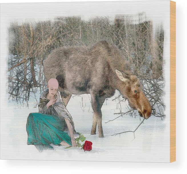 Cancer Wood Print featuring the photograph The Memory Rose by Rose Guay