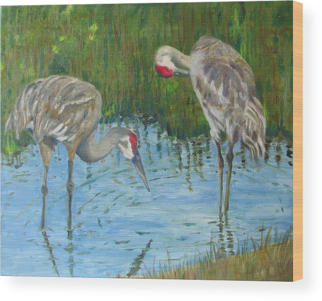Marsh Wood Print featuring the painting Two Cranes by Libby Cagle