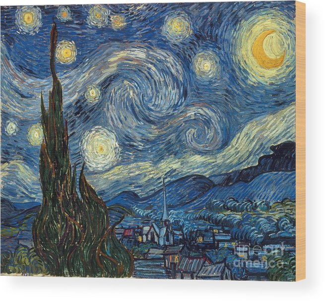 1889 Wood Print featuring the painting Van Gogh Starry Night by Granger