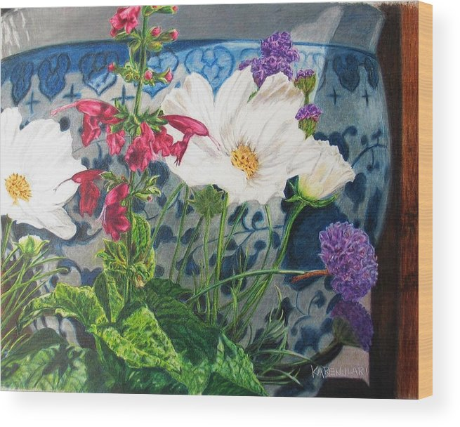 Flowers Wood Print featuring the painting Cosmos by Karen Ilari