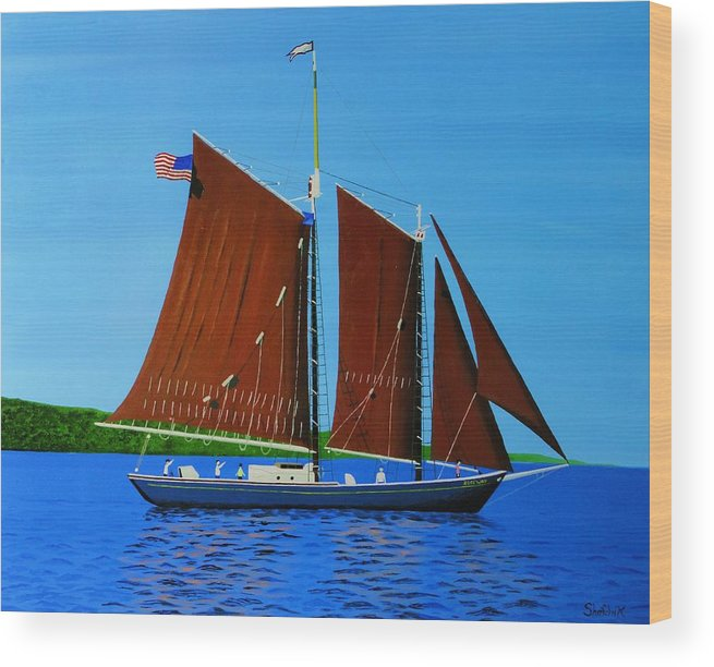 Landscape Wood Print featuring the painting Roseway On Lake Superior by Dan Shefchik