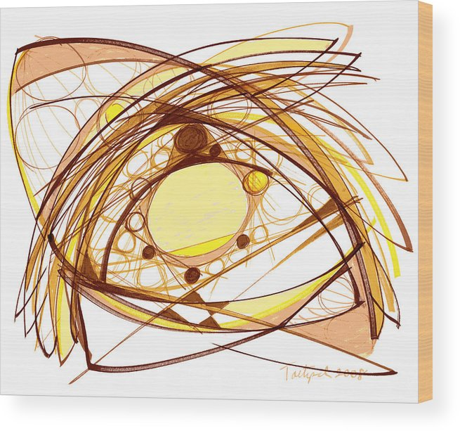 Abstract Art Wood Print featuring the drawing Abstract Pen Drawing Eleven by Lynne Taetzsch