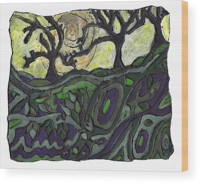 Woods Wood Print featuring the painting Alone In The Woods by Wayne Potrafka