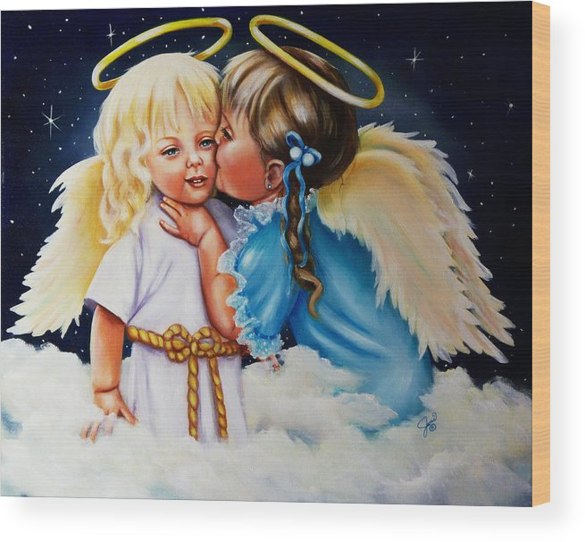 Angels Wood Print featuring the painting Angel Kiss by Joni McPherson