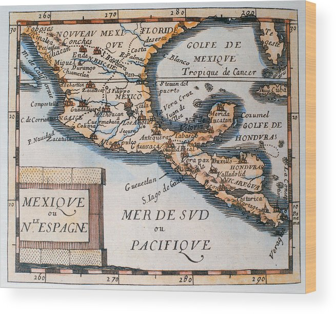 Map Of Spain For Printing.Antique Map Of Mexico Or New Spain Wood Print
