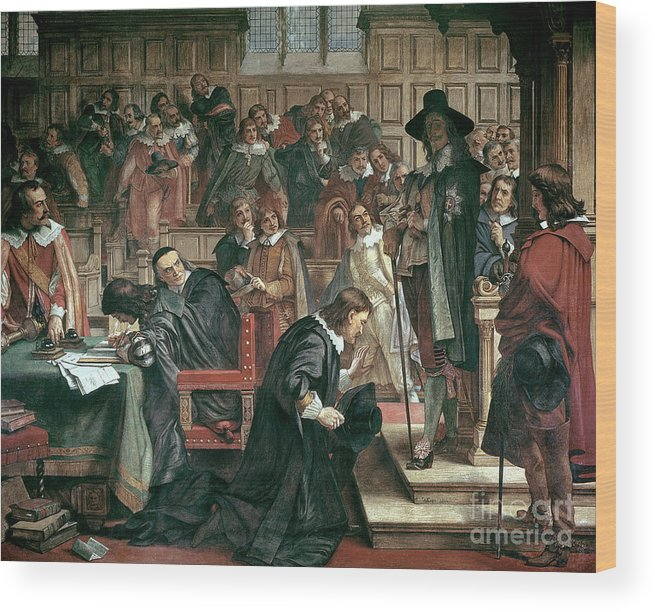 Charles I Wood Print featuring the painting Attempted Arrest Of 5 Members Of The House Of Commons By Charles I by Charles West Cope
