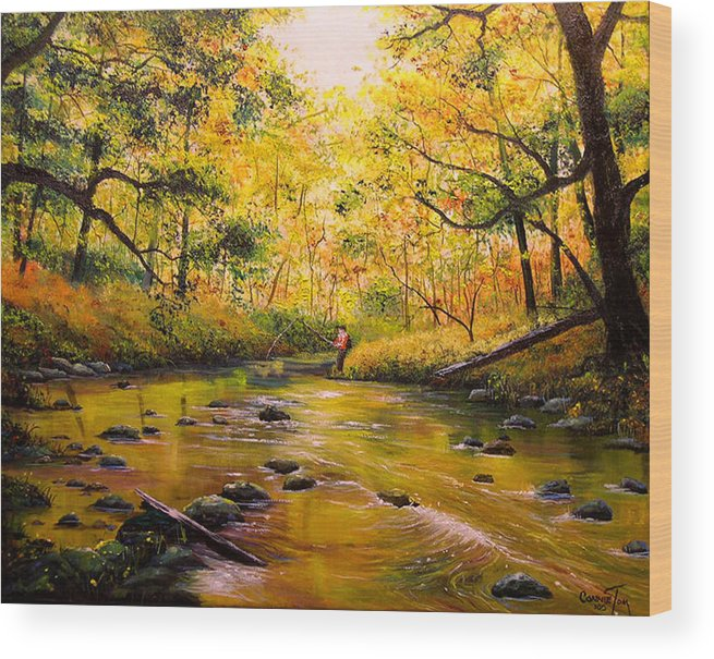 Connie Tom Wood Print featuring the painting Autumn Fishing by Connie Tom