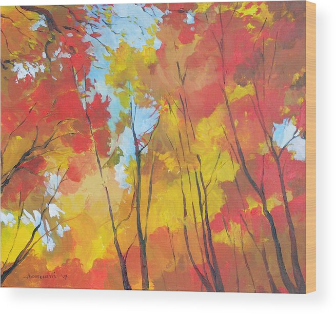 Landscape Wood Print featuring the painting Autumn Leaves by Alessandro Andreuccetti
