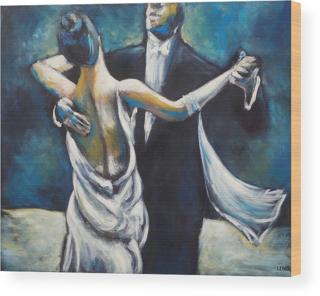 Dance Wood Print featuring the painting Ballroom Dancers by Ellen Lewis