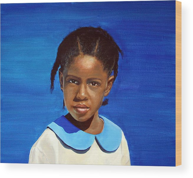Portrait Wood Print featuring the painting Barbuda School Girl by Fiona Jack