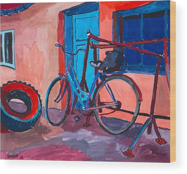 Bicycle Wood Print featuring the painting Bicycle by Vitali Komarov