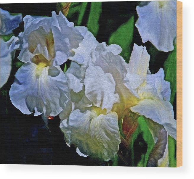 Iris Wood Print featuring the mixed media Billowing White Irises by Lynda Lehmann
