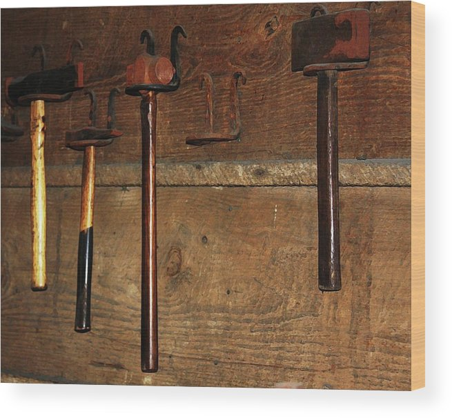 Blacksmith Photographs Wood Print featuring the photograph Blacksmith Tools by Kim Henderson