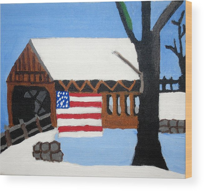 Bridge Wood Print featuring the painting Bridge by Jeff Caturano