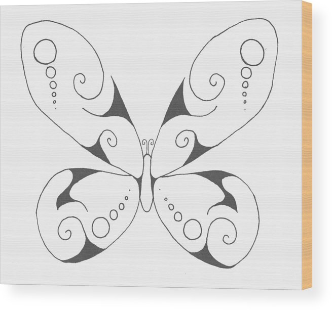 Butterfly Wood Print featuring the drawing Butterfly by Marianne Mason