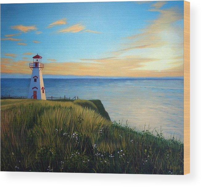 Landscape Wood Print featuring the painting Cape Tryon Lighthouse by Rick Gallant