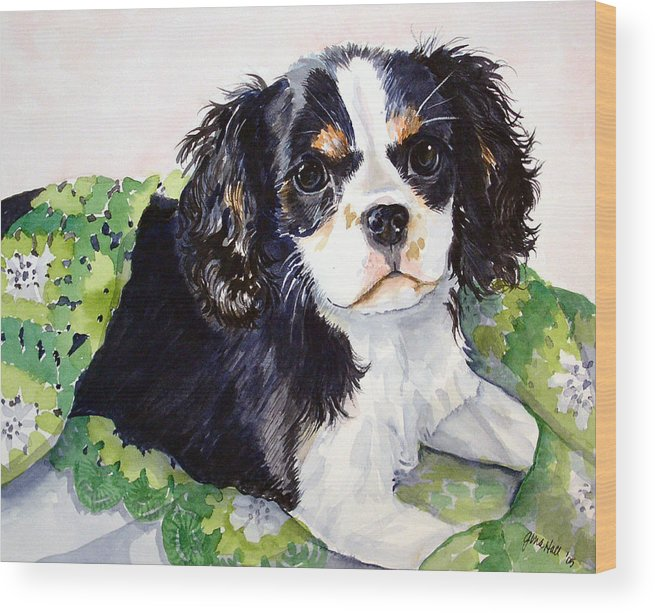 Canine Wood Print featuring the painting Casey by Gina Hall