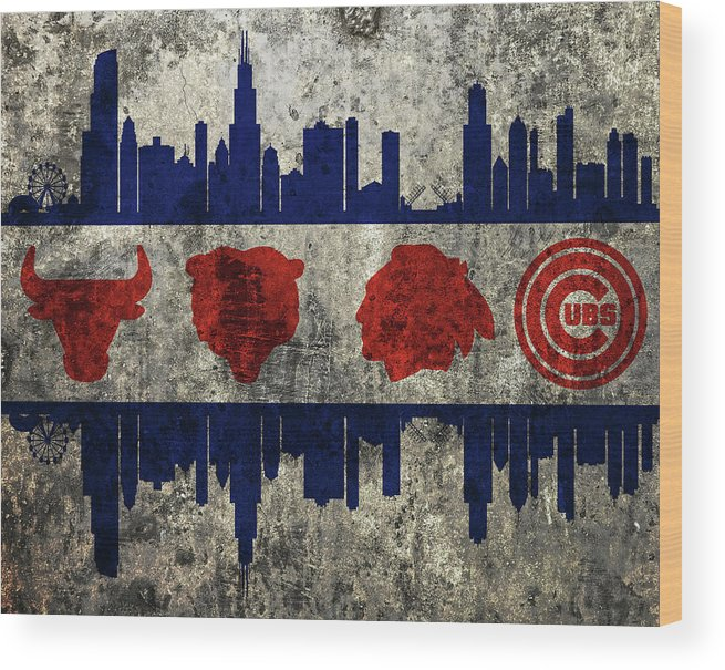 Chicago Grunge Flag Wood Print featuring the mixed media Chicago Grunge Flag by Dan Sproul