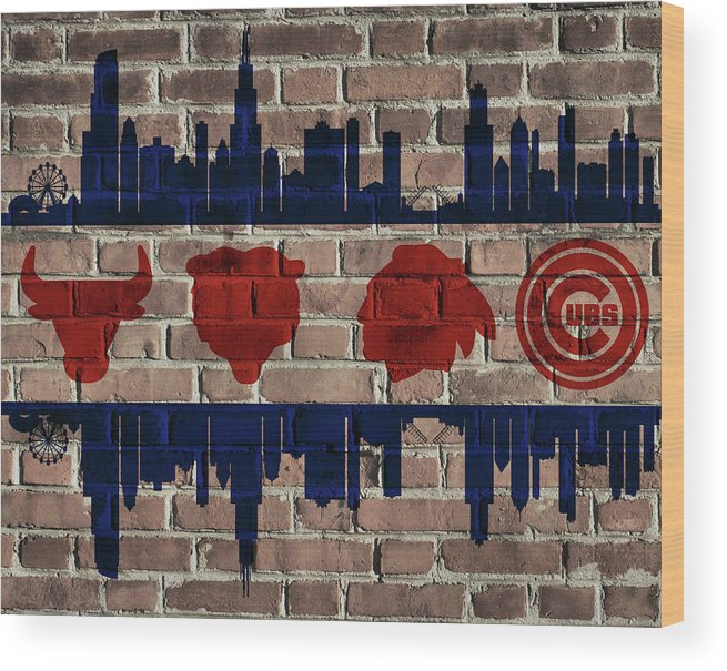 Chicago Sports Flag Wood Print featuring the mixed media Chicago Sports Team Flag On Brick by Dan Sproul