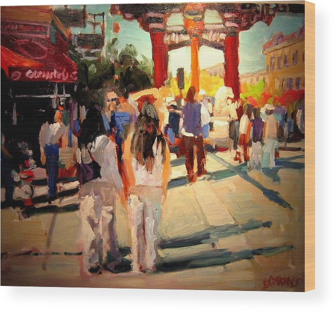 Landscape Paintings Wood Print featuring the painting Chinatown by Brian Simons