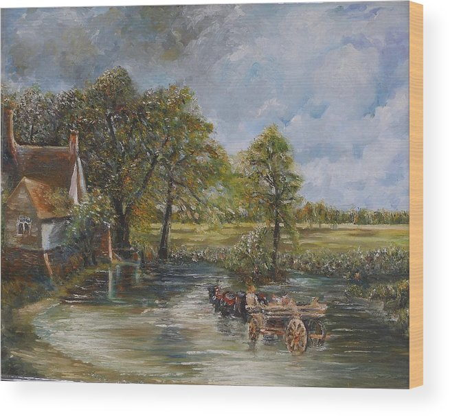 Landscape Wood Print featuring the painting Coming Home by Wendy Chua