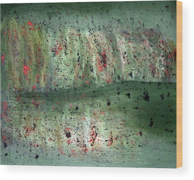 Abstract Wood Print featuring the painting Composition In Green by Mushtaq Bhat