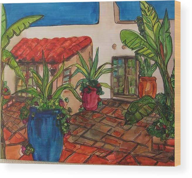 Wood Print featuring the painting Courtyard In Rancho Santa Fe by Michelle Gonzalez