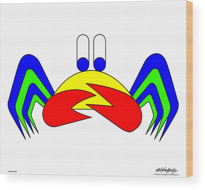 Wood Print featuring the digital art Crab-mac-claw by Asbjorn Lonvig