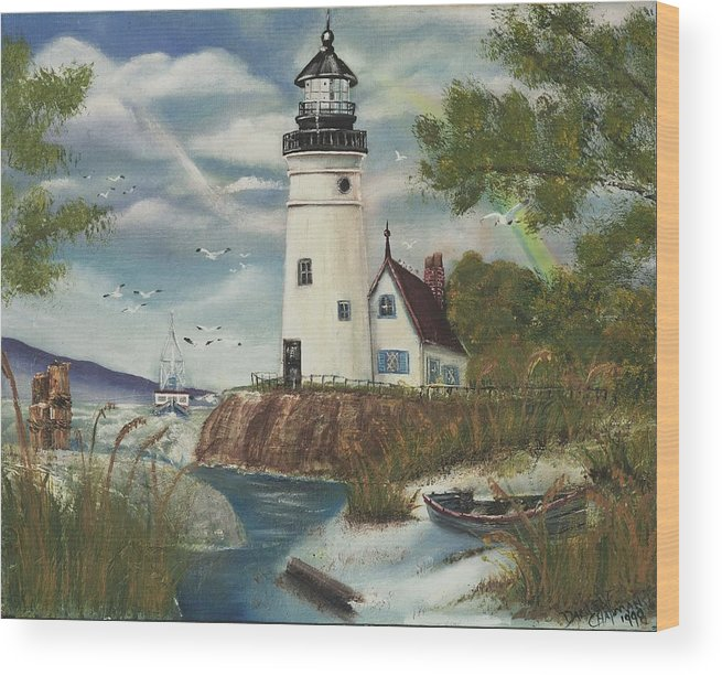 Wood Print featuring the painting Dads Lighthouse by Darlene Green