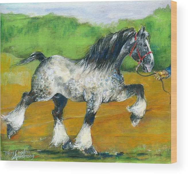 Equine Wood Print featuring the painting Dappled Draft by Mary Armstrong