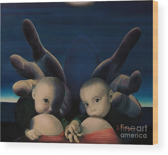 Twins Wood Print featuring the painting Deliverance by Juan Romagosa