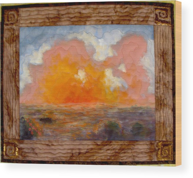 Realism Wood Print featuring the mixed media Desert Sunset by Diane and Donelli DiMaria