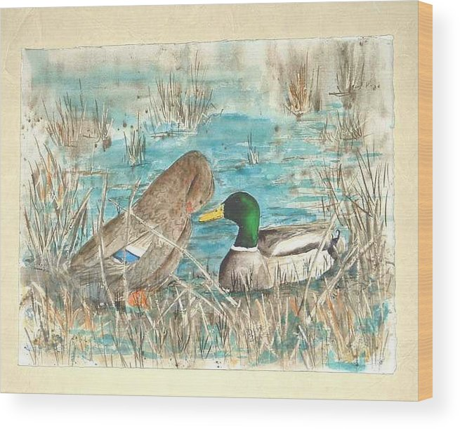 Mallards Wood Print featuring the painting Drake And Hen by Diane Ziemski