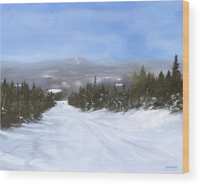 Ski Wood Print featuring the painting Drifter by Ken Ahlering
