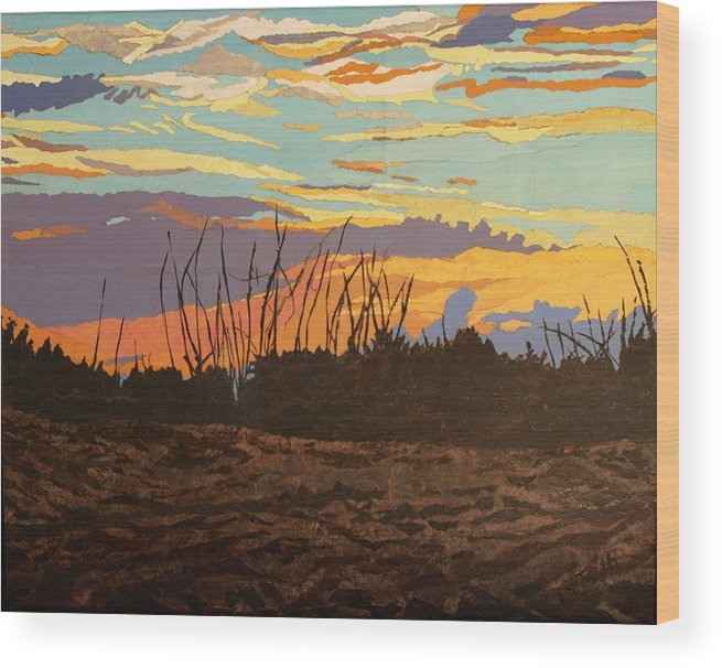 Sunset Wood Print featuring the painting Dusk Fishing, Hutchinson Island by Leah Tomaino