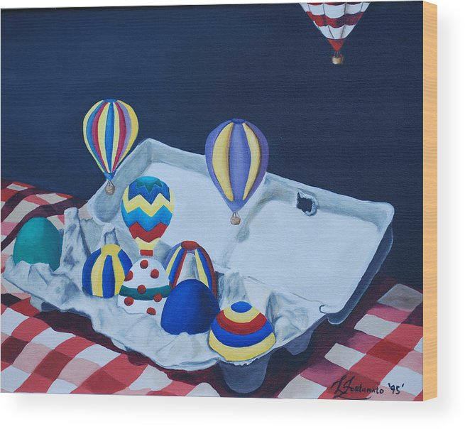 Eggs Wood Print featuring the painting Egg Balloons by Lisa Gabrius