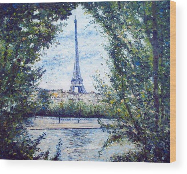 Paris France Wood Print featuring the painting Eiffel Tower Paris France 2001  by Enver Larney