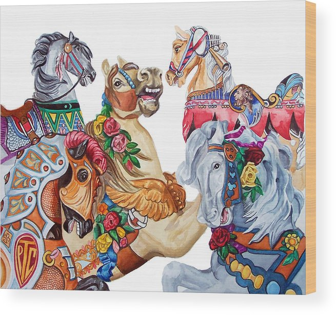 Carousel Horses Wood Print featuring the print Escapade by Bette Gray