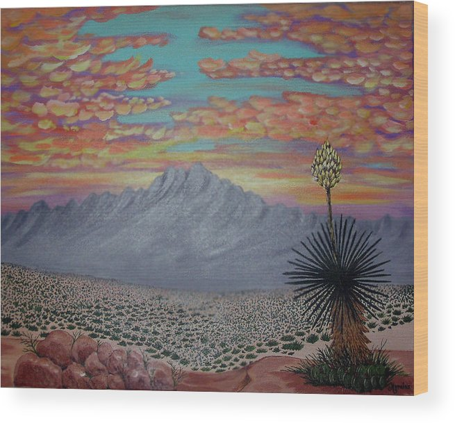 Desertscape Wood Print featuring the painting Evening In The Desert by Marco Morales