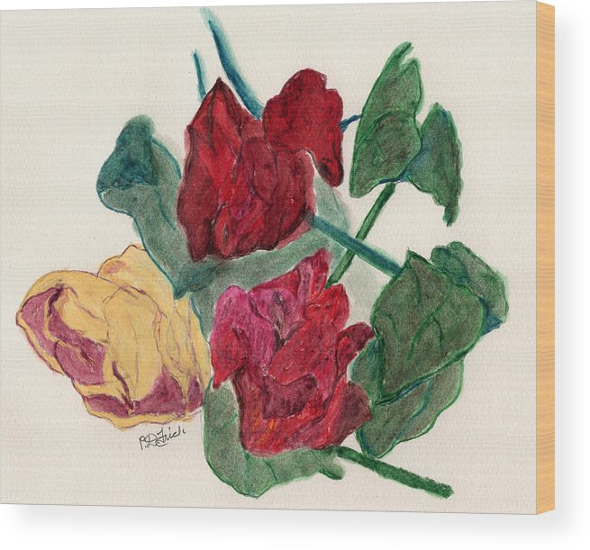 Roses Wood Print featuring the pastel Fading Memories by Diane Frick