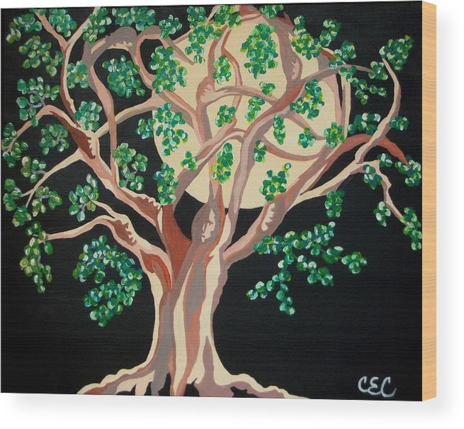Tree Wood Print featuring the painting Family Tree by Carolyn Cable