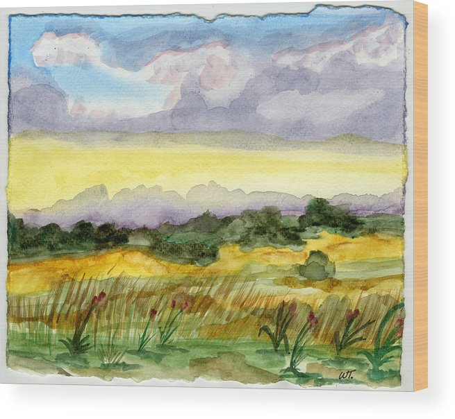 Landscape Wood Print featuring the painting Field And Sky 2 by Warren Thompson