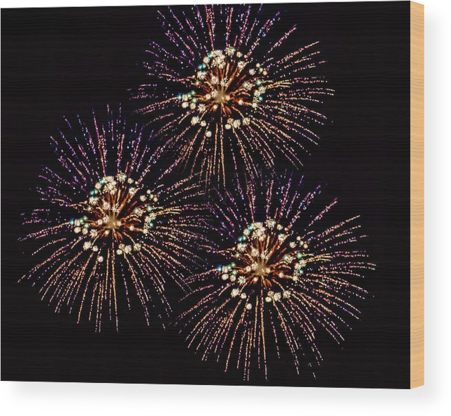 Black Brook Shop Wood Print featuring the photograph Fireworks - Purple Power by Black Brook Photography