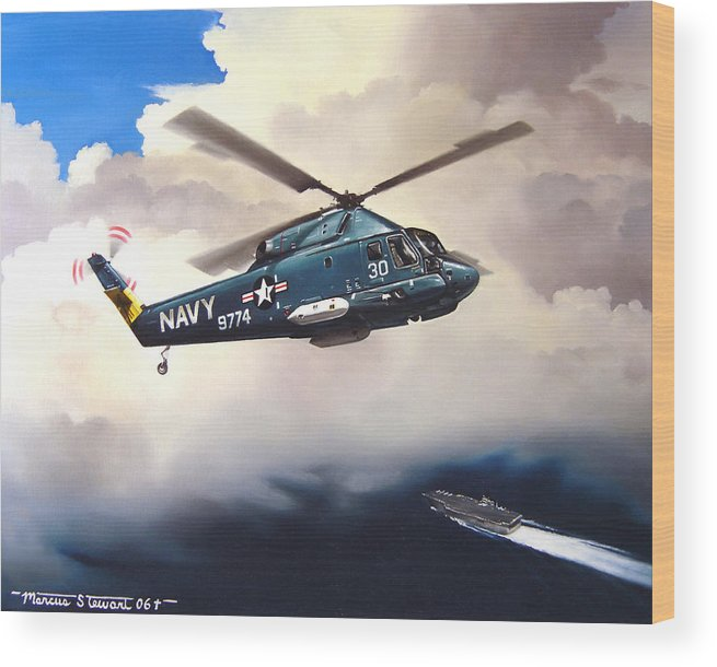Military Wood Print featuring the painting Flight Of The Seasprite by Marc Stewart