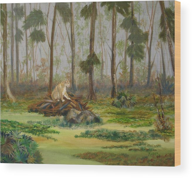 Florida Wood Print featuring the painting Florida Panther by Susan Kubes
